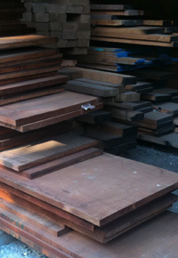 genuine mahogany lumber boards